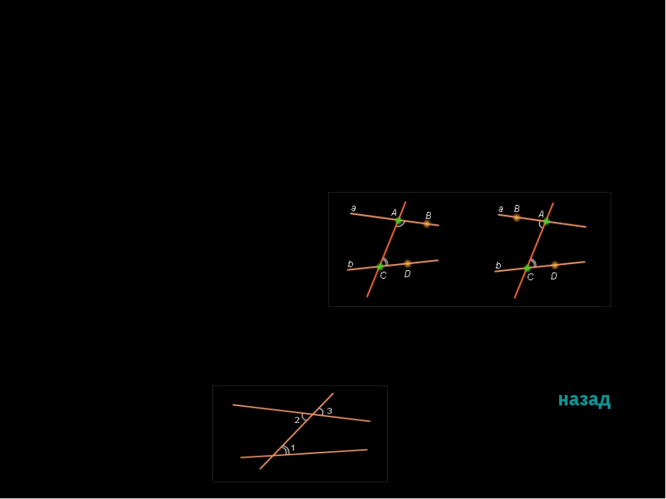 Прямая AC называется секущей по отношению к прямым AB и CD , если она пересек...