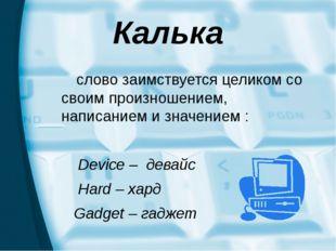 Калька слово заимствуется целиком со своим произношением, написанием и значен