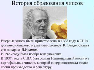 История образования чипсов Впервые чипсы были приготовлены в 1853 году в США