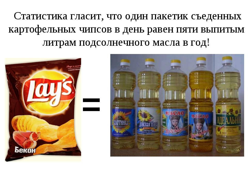 Статистика гласит, что один пакетик съеденных картофельных чипсов в день раве...