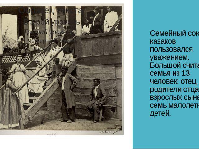 Семейный союз у казаков пользовался уважением. Большой считалась семья из 13...