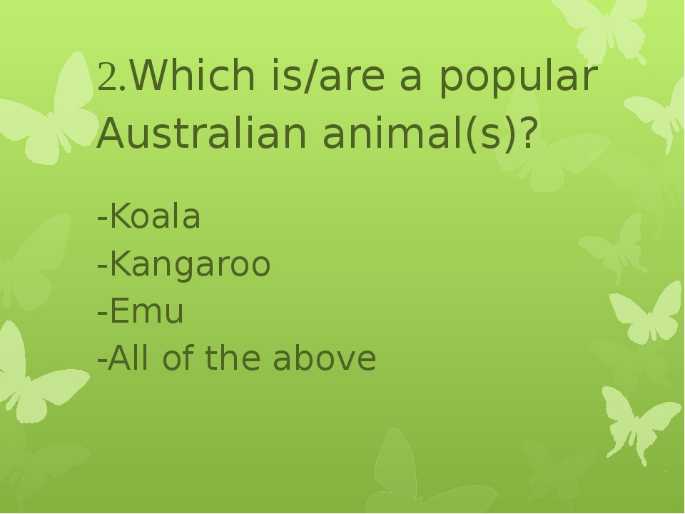2.Which is/are a popular Australian animal(s)? -Koala -Kangaroo -Emu -All of...