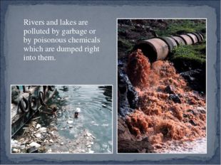 Rivers and lakes are polluted by garbage or by poisonous chemicals which are