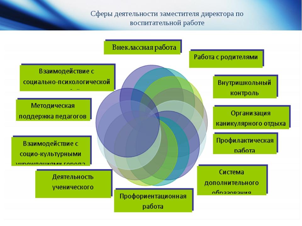 Сферы деятельности заместителя директора по воспитательной работе