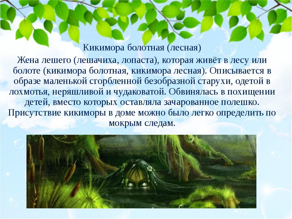 Кикимора болотная (лесная) Жена лешего (лешачиха, лопаста), которая живёт в л...