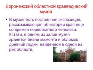 Воронежский областной краеведческий музей В музее есть постоянная экспозиция,