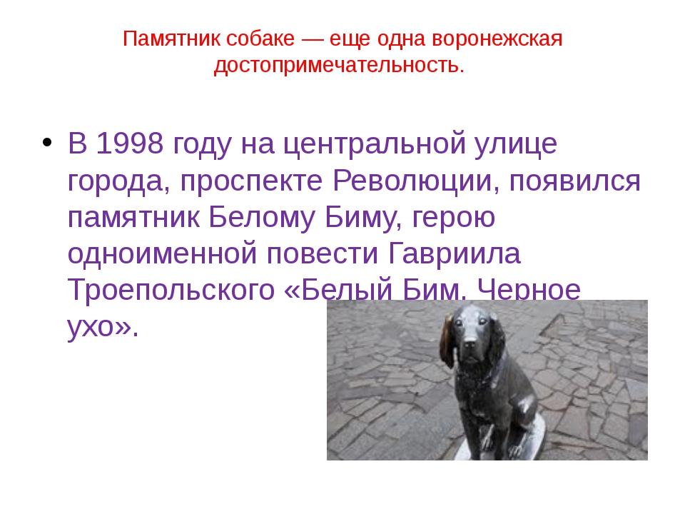 Памятник собаке— еще одна воронежская достопримечательность. В 1998 году на...