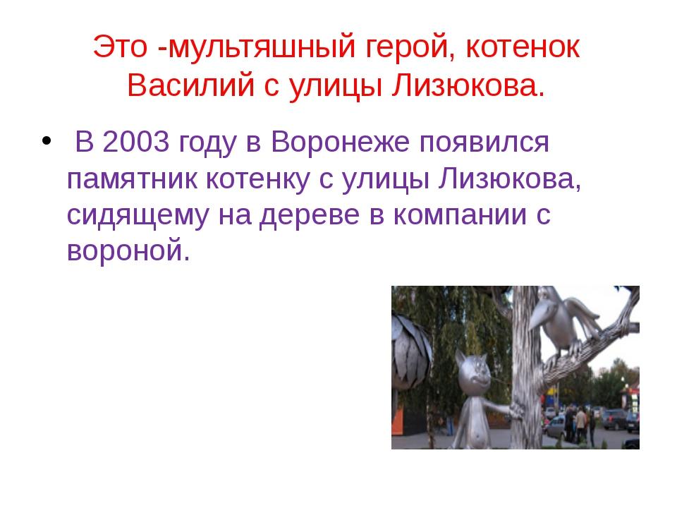 Это -мультяшный герой, котенок Василий с улицы Лизюкова. В 2003 году в Вороне...