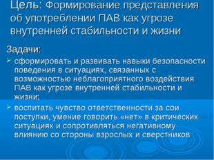 Цель: Формирование представления об употреблении ПАВ как угрозе внутренней ст