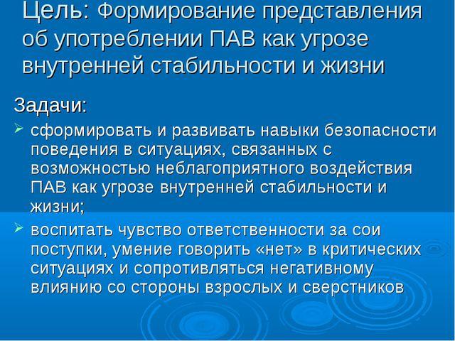 Цель: Формирование представления об употреблении ПАВ как угрозе внутренней ст...