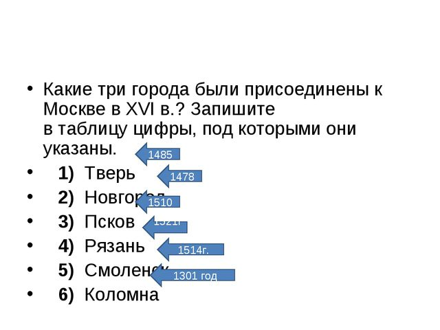 Какие три города были присоединены к Москве в XVI в.? Запишите в таблицу цифр...