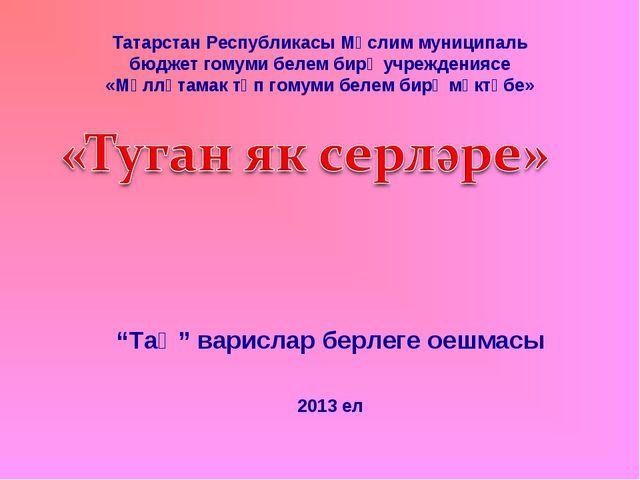 Татарстан Республикасы Мөслим муниципаль бюджет гомуми белем бирү учрежденияс...