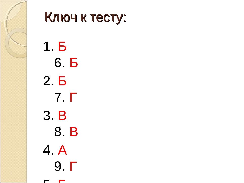 Ключ к тесту: 1. Б 6. Б 2. Б 7. Г 3. В 8. В 4. А 9. Г 5. Б 10. А 11. Б