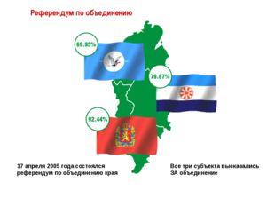 Референдум по объединению Все три субъекта высказались ЗА объединение 17 апре
