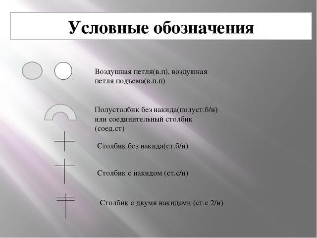 Условные обозначения Воздушная петля(в.п), воздушная петля подъема(в.п.п) Пол...