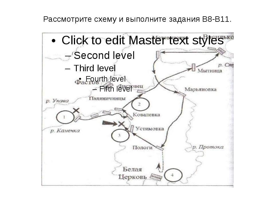 Рассмотрите схему и выполните задания В8-В11.