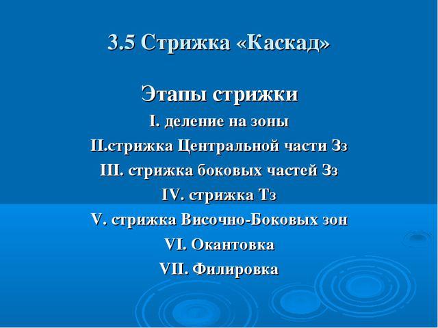 3.5 Стрижка «Каскад» Этапы стрижки I. деление на зоны II.стрижка Центральной...
