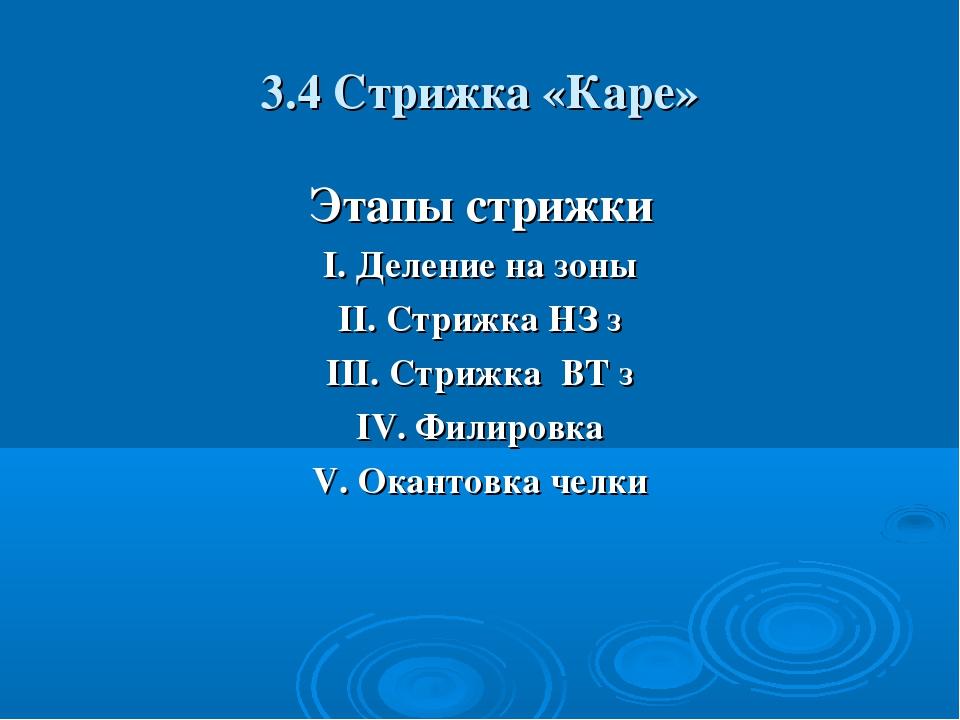3.4 Стрижка «Каре» Этапы стрижки I. Деление на зоны II. Стрижка НЗ з III. Стр...