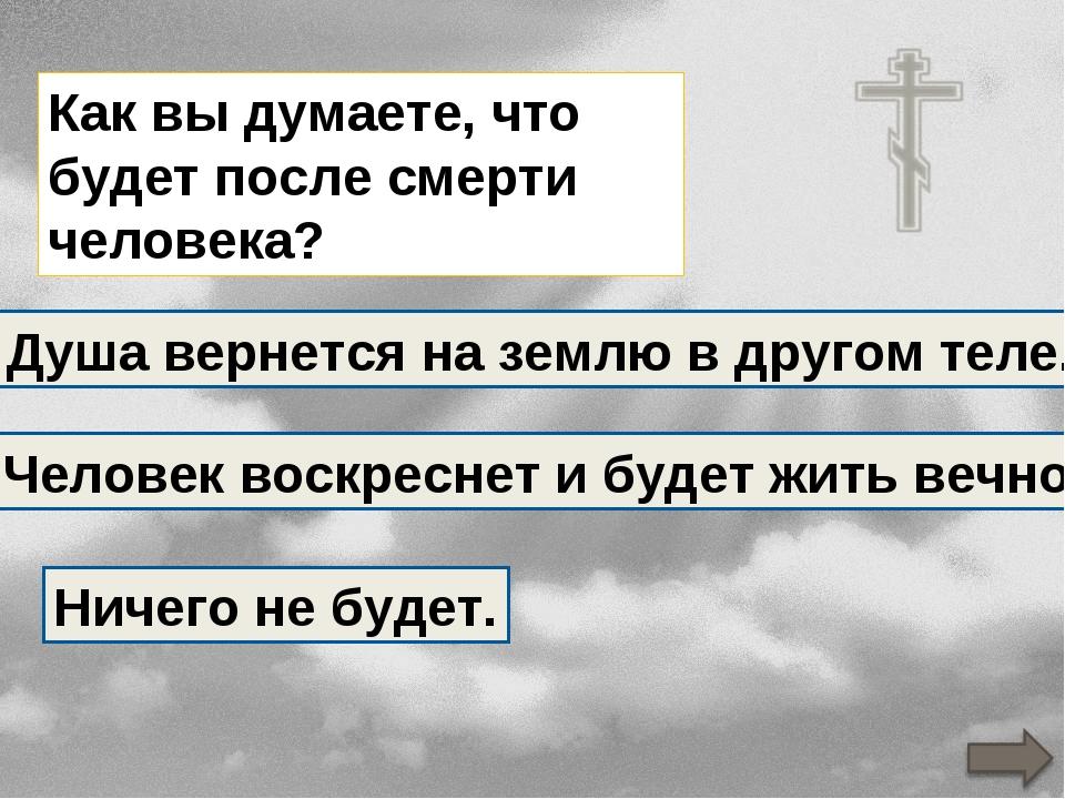 Как вы думаете, что будет после смерти человека? Душа вернется на землю в дру...