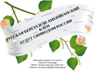 РУССКАЯ БЕРЕЗА ИЛИ АМЕРИКАНСКИЙ КЛЁН БУДУТ СИМВОЛОМ РОССИИ Выполнил ученик 4