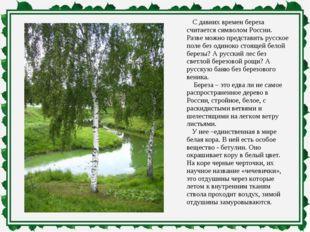 С давних времен береза считается символом России. Разве можно представить ру