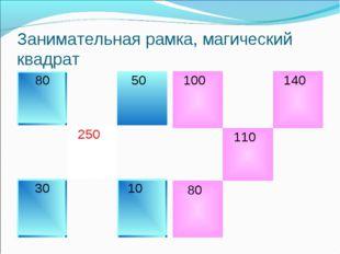 Занимательная рамка, магический квадрат 80 50  250 30 10 100 140  11