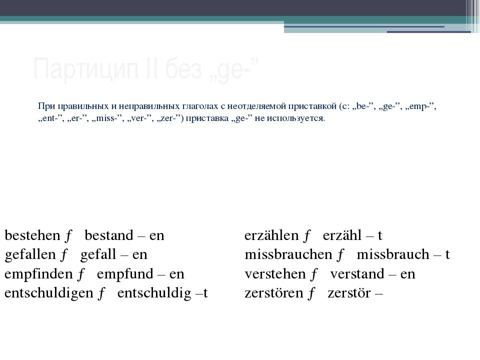 """Партицип II без """"ge-"""" При правильных и неправильных глаголах с неотделяемой п..."""