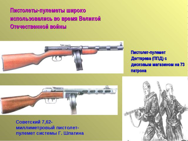 Советский 7,62-миллиметровый пистолет-пулемет системы Г. Шпагина Пистолет-пул...