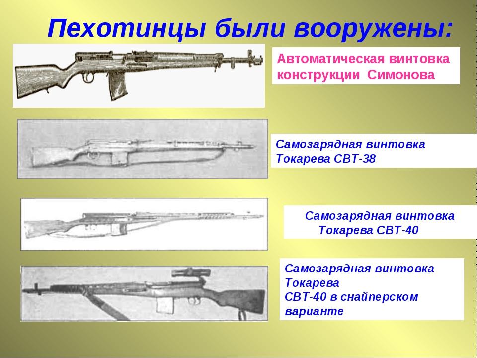 Пехотинцы были вооружены: Автоматическая винтовка конструкции Симонова Самоза...