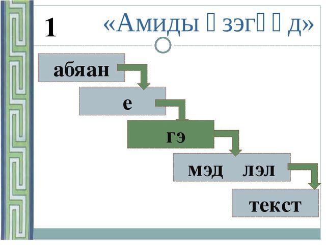 абяан γе … мэдγγлэл текст «Амиды үзэгүүд» 1 γгэ
