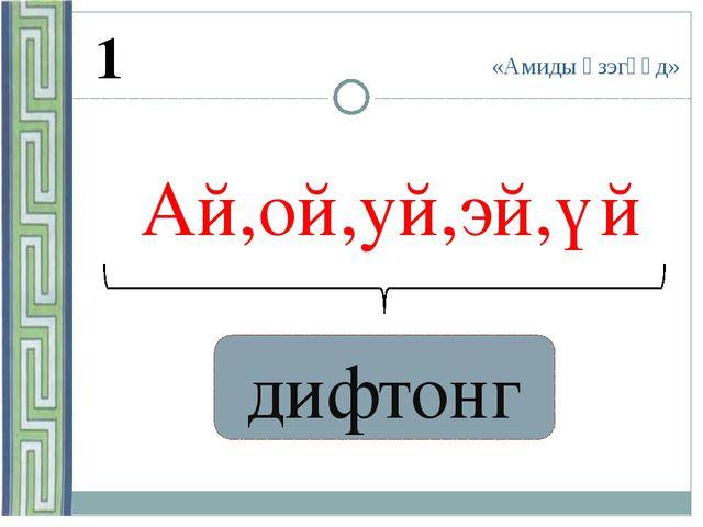 «Амиды үзэгүүд» 1 Ай,ой,уй,эй,үй ? дифтонг