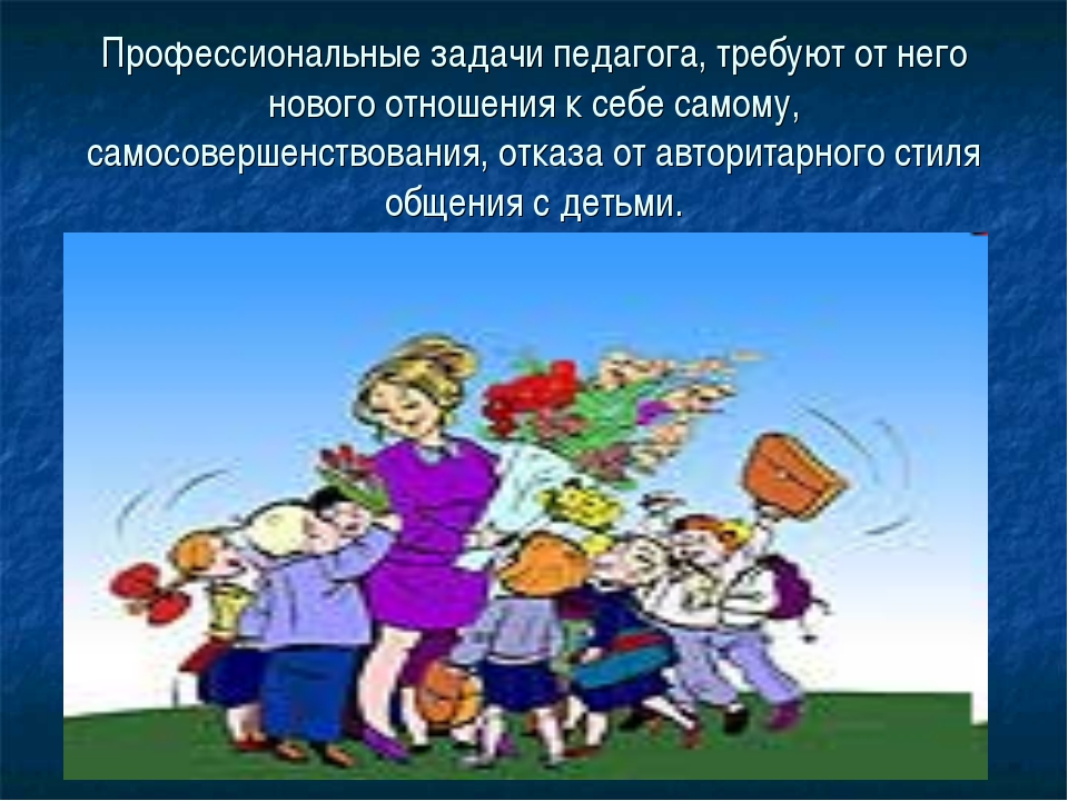 Профессиональные задачи педагога, требуют от него нового отношения к себе сам...