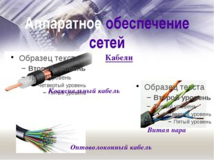 Аппаратное обеспечение сетей Витая пара Коаксиальный кабель Оптоволоконный ка