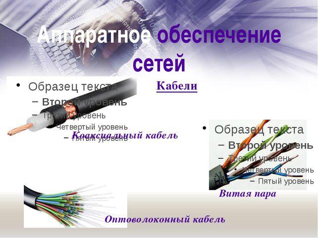Аппаратное обеспечение сетей Витая пара Коаксиальный кабель Оптоволоконный ка...