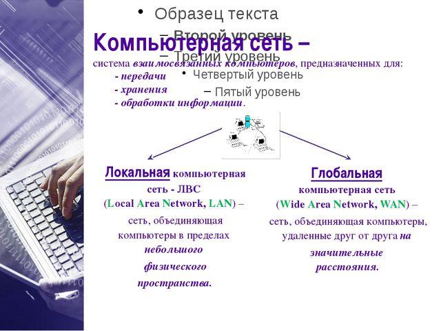Компьютерная сеть – система взаимосвязанных компьютеров, предназначенных для...