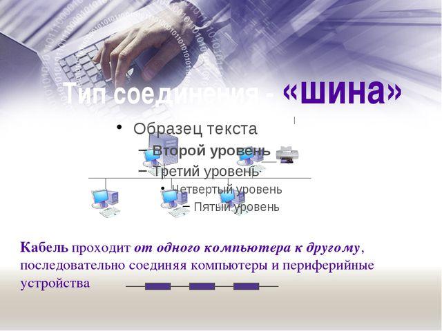Тип соединения - «шина» Кабель проходит от одного компьютера к другому, после...