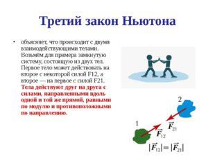 Третий закон Ньютона объясняет, что происходит с двумя взаимодействующими тел