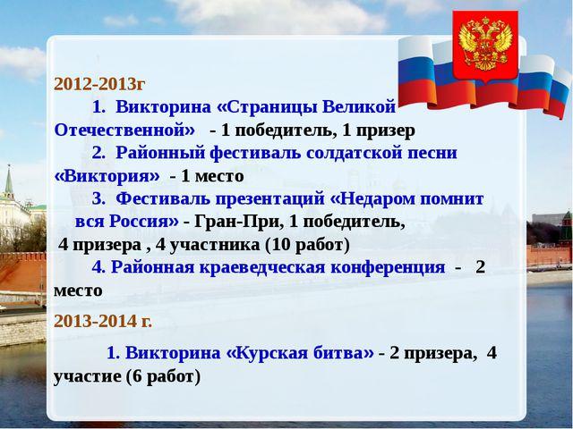 2012-2013г 1. Викторина «Страницы Великой Отечественной» - 1 победитель, 1 п...