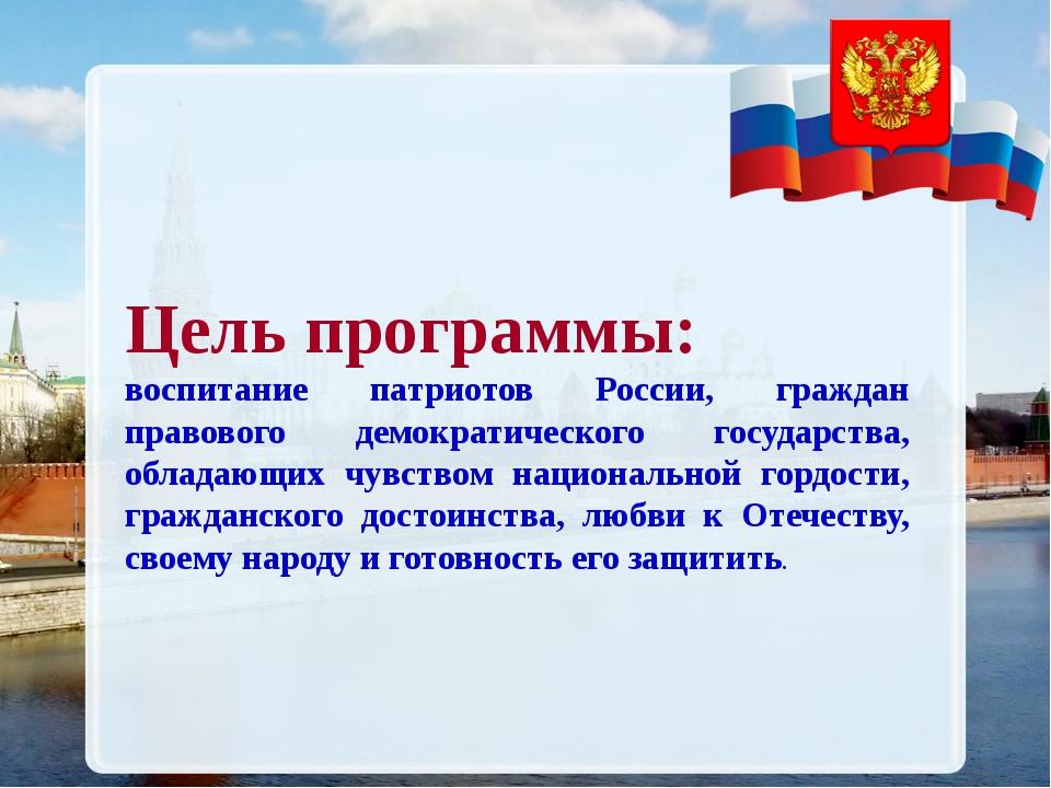 Цель программы: воспитание патриотов России, граждан правового демократическо...