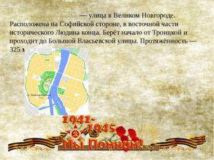 Теле́гина-Редя́тина— улица вВеликом Новгороде. Расположена наСофийской сто