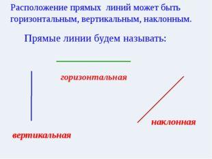 горизонтальная Расположение прямых линий может быть горизонтальным, вертикал