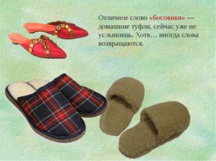 Отличное слово «босовики» — домашние туфли, сейчас уже не услышишь. Хотя… ино