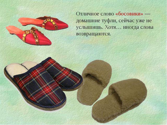 Отличное слово «босовики» — домашние туфли, сейчас уже не услышишь. Хотя… ино...