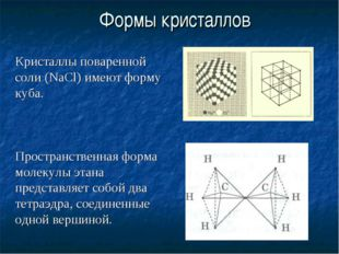 Кристаллы поваренной соли (NaCl) имеют форму куба. Пространственная форма мо