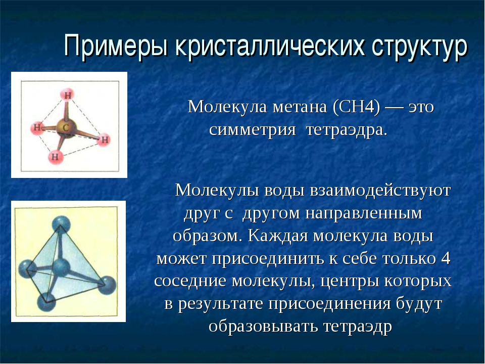 Примеры кристаллических структур Молекула метана (СН4) — это симметрия тетраэ...