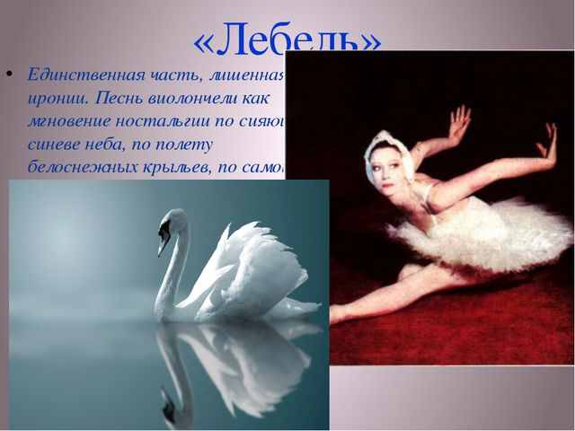 «Лебедь» Единственная часть, лишенная иронии. Песнь виолончели как мгновение...