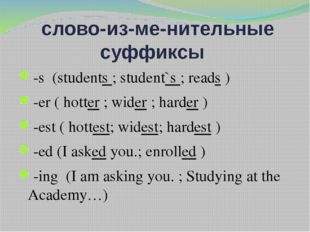 слово­из­ме­нительные суффиксы -s (students ; student`s ; reads ) -er ( hott