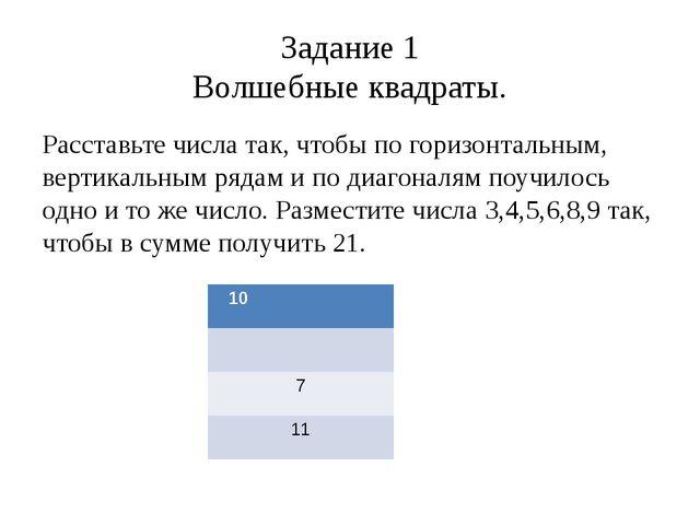 Задание 1 Волшебные квадраты. Расставьте числа так, чтобы по горизонтальным,...