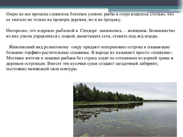 Озеро во все времена славилось богатым уловом: рыбы в озере водилось столько...
