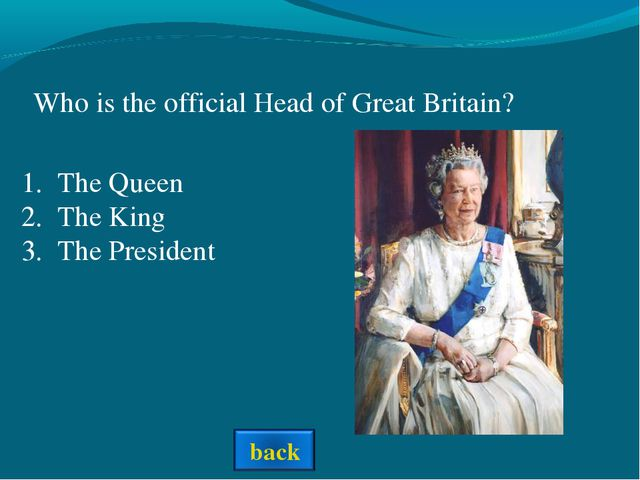 Who is the official Head of Great Britain? The Queen The King The President